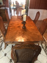 rectangular brown wooden table with six chairs dining set 204 mi