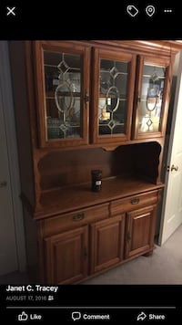 Brown wooden cabinet with hutch 368 mi