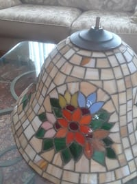 beige, red, and green floral stained glass lampshade 388 mi