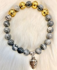 NEW Stone Bracelet Picture Jasper and Gold Lava Bead