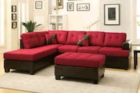Brand New Red Linen Sectional Sofa +Ottoman  Silver Spring, 20902