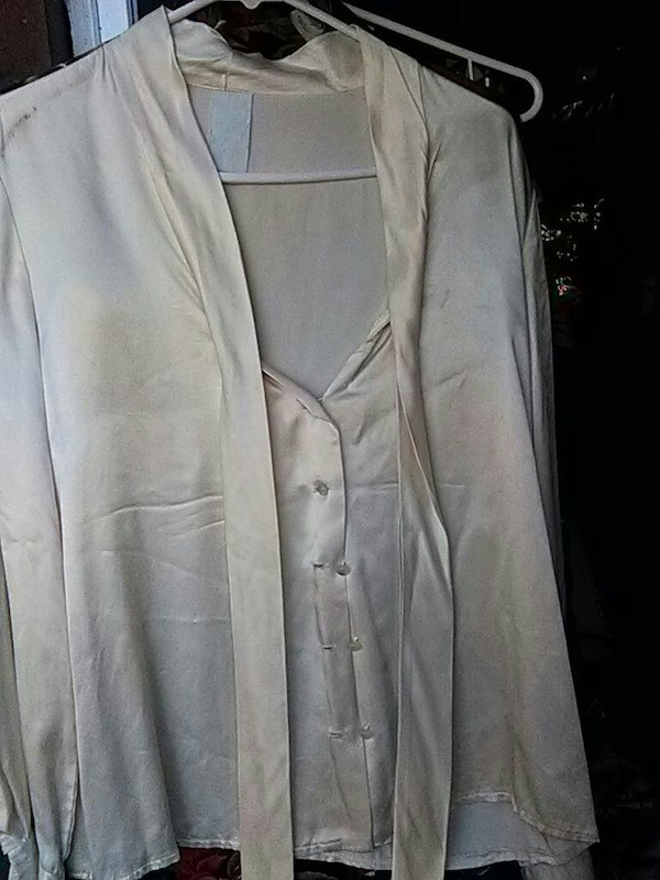 gray button-up satin long-sleeved top