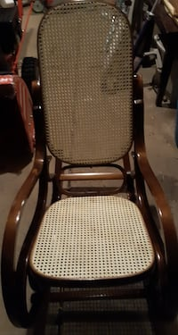 Vintage oval wooden rocking chair