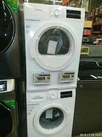 white front-load clothes washer and dryer set 59 km