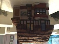 brown wooden house miniature decor LANSDALE
