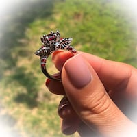 Pretty Red Ruby 10KT White Gold Filled Wings Wedding Engagement Ring Fashion Jewelry  Fresno, 93704