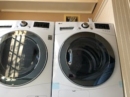 "LG Front Load Compact WM1388HW 24"" Washer with DLEC888W 24"" Electric Dryer Laundry Pair"