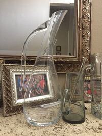 Glass wine decanter, glass beer pitcher, glass beer mugs