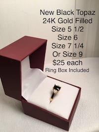 New Black Topaz Ring, 24k Gold Filled, various sizes available Chesapeake, 23320