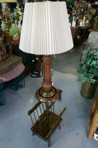 brown wooden base with white lampshade table lamp Pharr, 78577