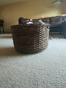 wicker black and brown basket