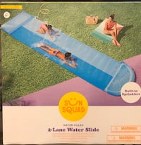Two Lane Double Wayer Slide with Sprinkler
