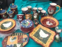 Patchwork Rooster Dishes.   36 Pc  Houston, 77062