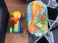 Baby's blue, orange and green rocker bouncer and yellow ride on toy