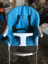 baby's blue and white high chair