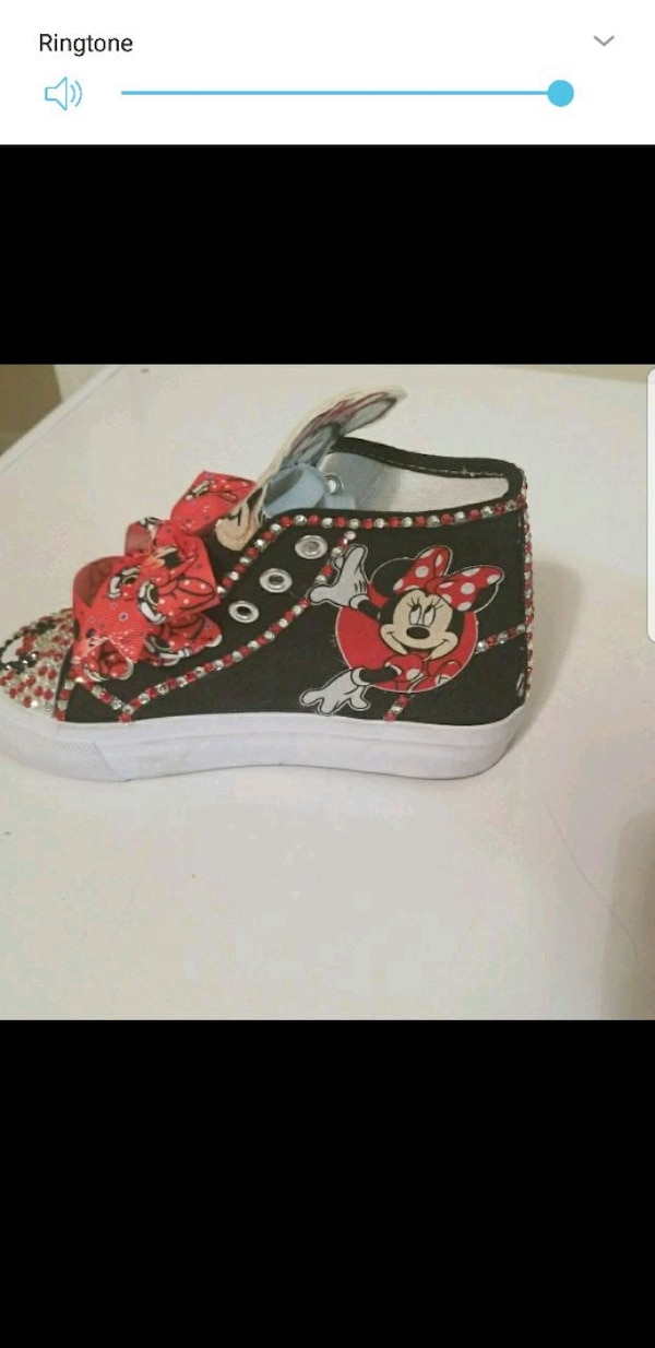 black and red Mickey Mouse print high top sneaker
