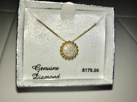 14K Gold Over Sterling Silver Diamond Accent Pendant Necklace