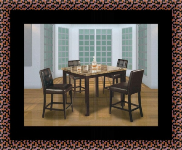 Marble tall table with 4 leather chairs ed4616ff-6f57-427e-8ad7-21159237c334