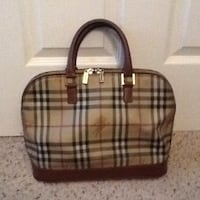 brown, black, and red Burberry Plaid shoulder bag