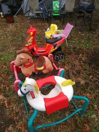 (All 5 $20)2 bouncing horses/1 motorcycle/2 chairs