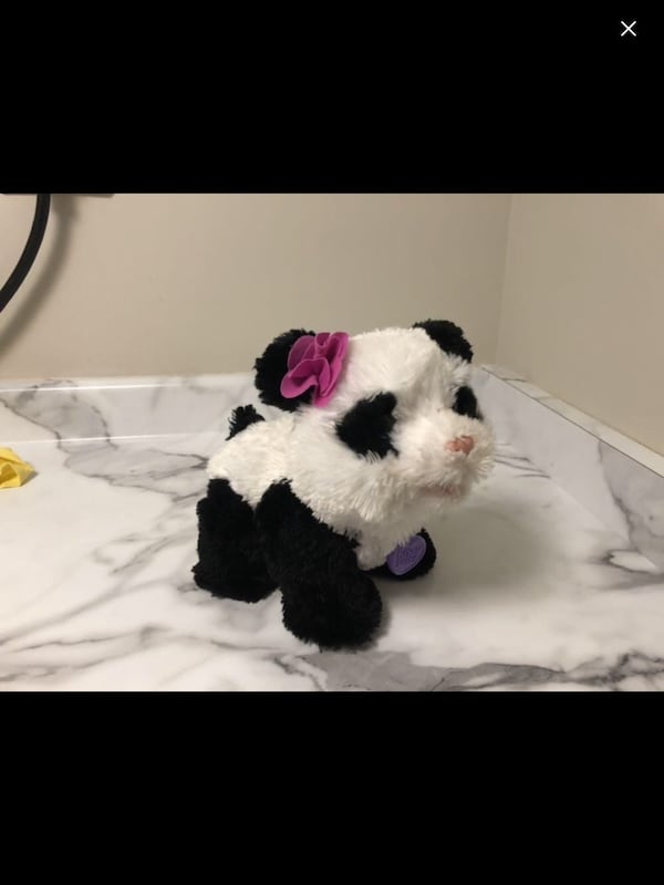 White and black panda plush toy walking  7c777c09-7f91-41a3-a175-e628c34ffa29