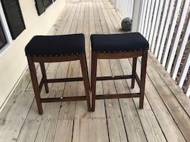 """Pair of Navy, Blake Counter Stool w/Nailheads-24""""by HomePop"""