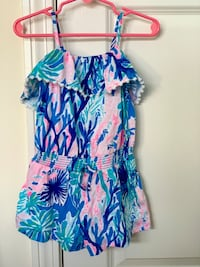 Toddler girl size XS (2-3) Lilly Pulitzer coral print romper Trumbull, 06611