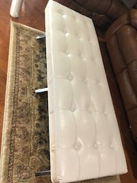 New pearl white leather bench with metal frame see pictures size LxWxH 60x20x18 contact Richard  [TL_HIDDEN]  Toronto, M9V 4T4