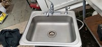 Stain and steel sink with fosset