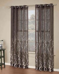 95 inch grommet top window curtain panel chocolate color