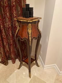 4' tall real wood vintage candle Stand , table - Shelf