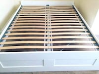 IKEA Brimnes queen bedframe and slatted bass. White. Will be disassembled for easy move. Norwood, 02062