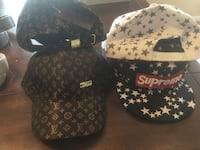 white, black, and brown Louis Vuitton and Supreme fitted caps Kitchener, N2E 4H4