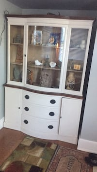 White Cabinet with glass display area and tons of storage Falls Church, 22042