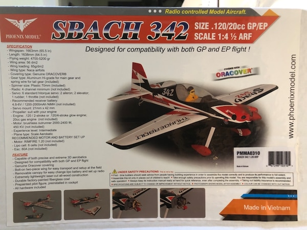 SBACH 342 1/4 SCALE RC AIRPLANE