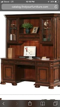 brown wooden cabinet with hutch 297 mi