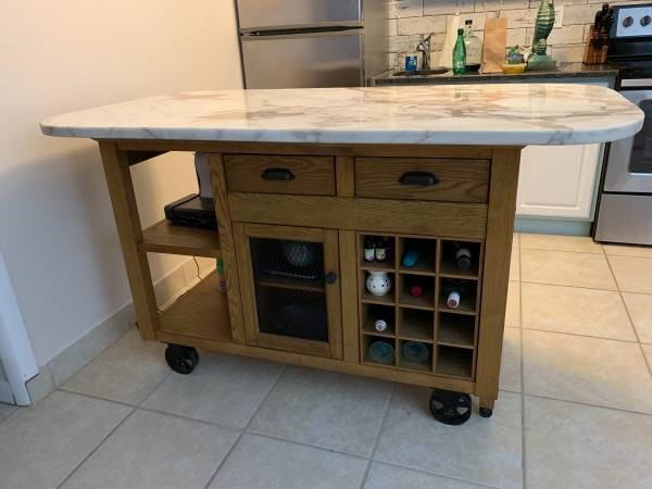 KItchen Island Cart Marble Top and 2 Chairs