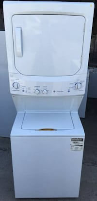 GE Large Stacked Washer Dryer, Like New, 1 year warranty