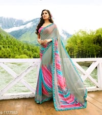 women's green and red sari dress Moradabad, 244001