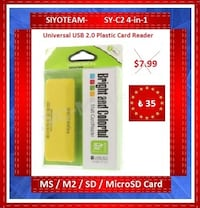 SIYOTEAM-SY-C2 4-in-1 Universal USB 2.0 Plastic Card Reader for MS/M2/SD/MicroSD Card