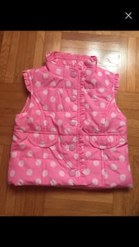 Gilet button-up a pois rosa e bianco da bambina