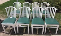 8 white wooden windsor chairs Barrie, L4M 1V6