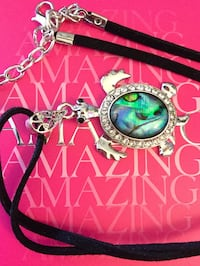 """Tortoise pendant necklace with leather chain / New jewelry 18"""" inch long necklace Alexandria, 22311"""