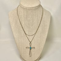 Sterling Silver Turquoise Cross Pendant with Sterling Rope Chain Ashburn, 20147