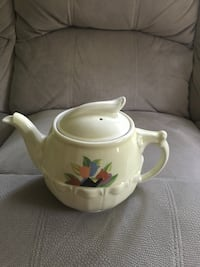 White green and blue floral ceramic teapot