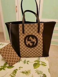 Tote bag in pelle Gucci nera e marrone