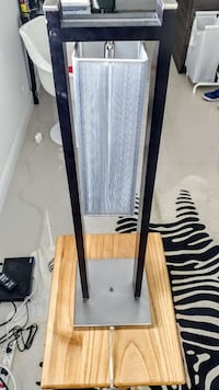 stainless steel floor lamp with box lampshade Miami, 33137