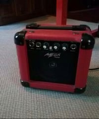 red and black guitar amplifier Barrie