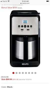 Brand new krumps coffee maker with reusable filter brand new never used  31 km