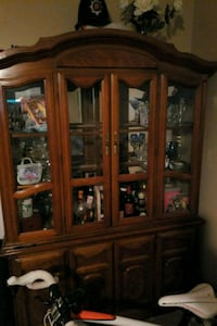 brown wooden framed glass china cabinet Brooklyn, 11232